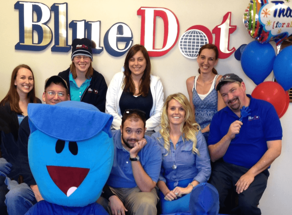 Happy employees at Blue Dot