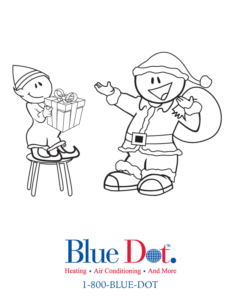 Blue dot santa and elf